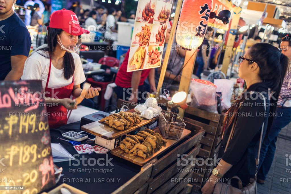 Street food market in BGC stock photo