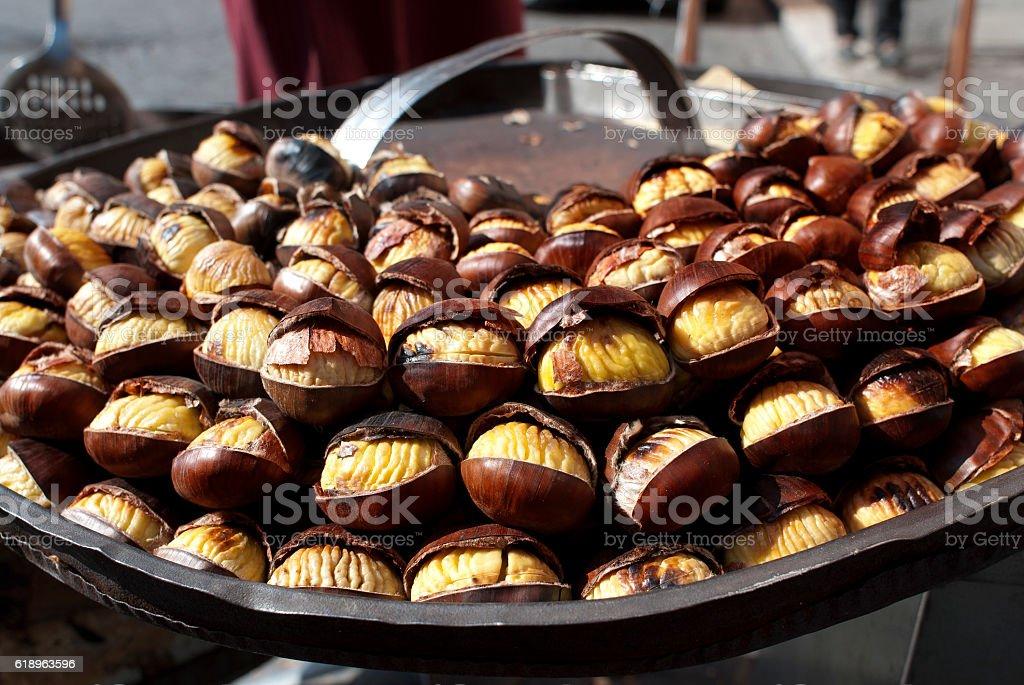 street food. roast chestnuts stock photo