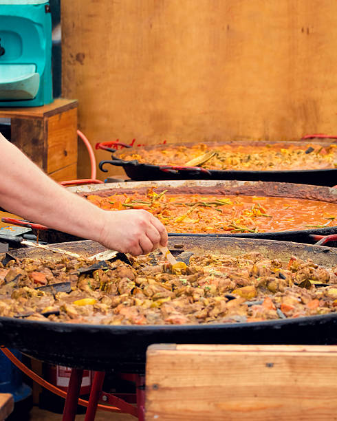 Street Food. Selection Of Curry In Large Karahi Pans. stock photo