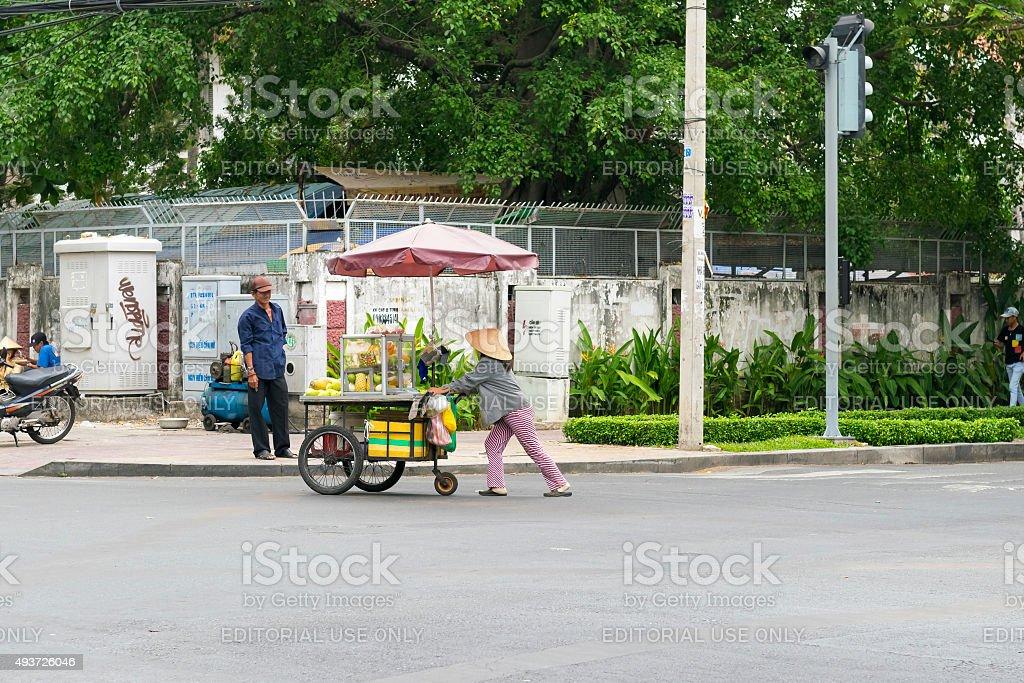 Street food seller stock photo
