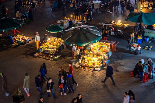 Marrakech, Morocco - January 19, 2018: Street food stall in djemaa el Fna market square, Marrakesh, Morocco