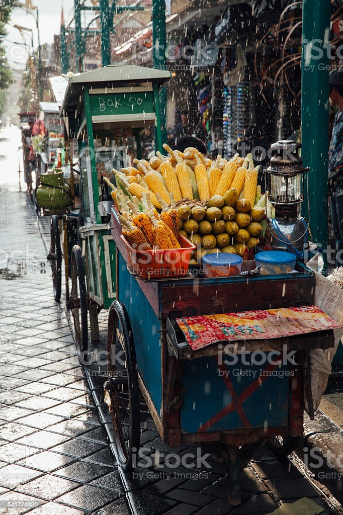 Street food stall with grilled corn, Bali stock photo