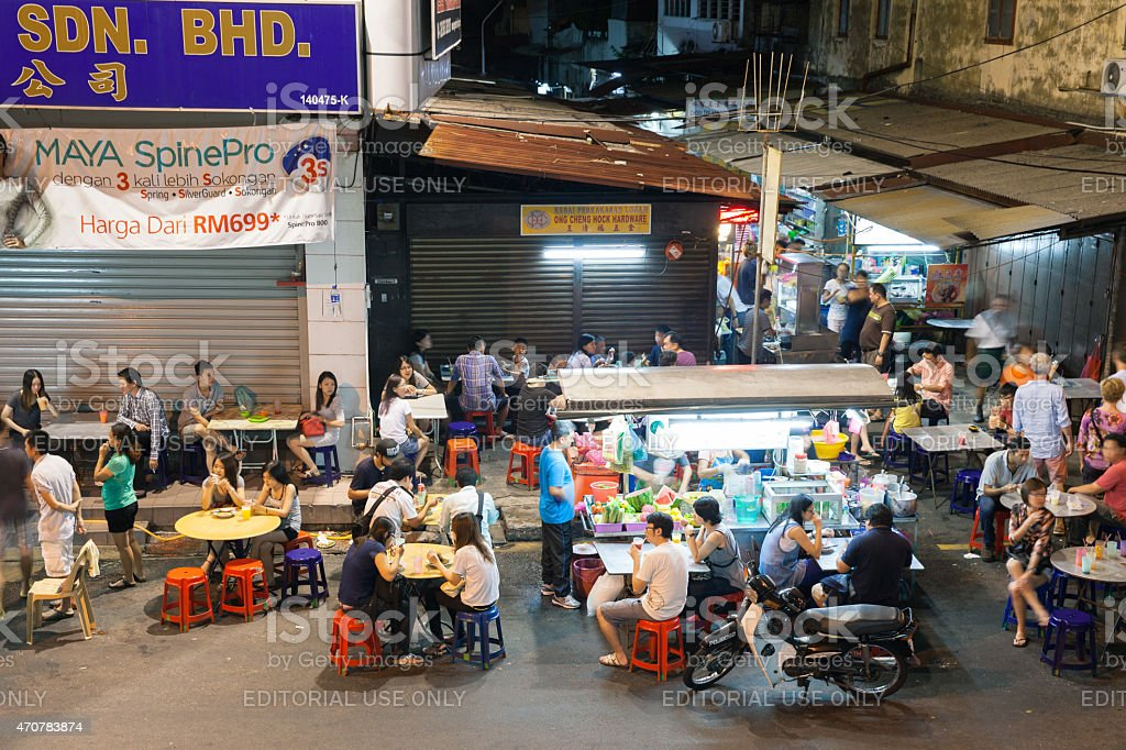 Street food stalls in historic part of Chinatown, Penang royalty-free stock photo