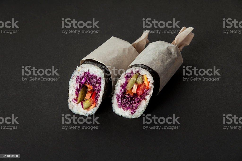 street food sushiritto stock photo