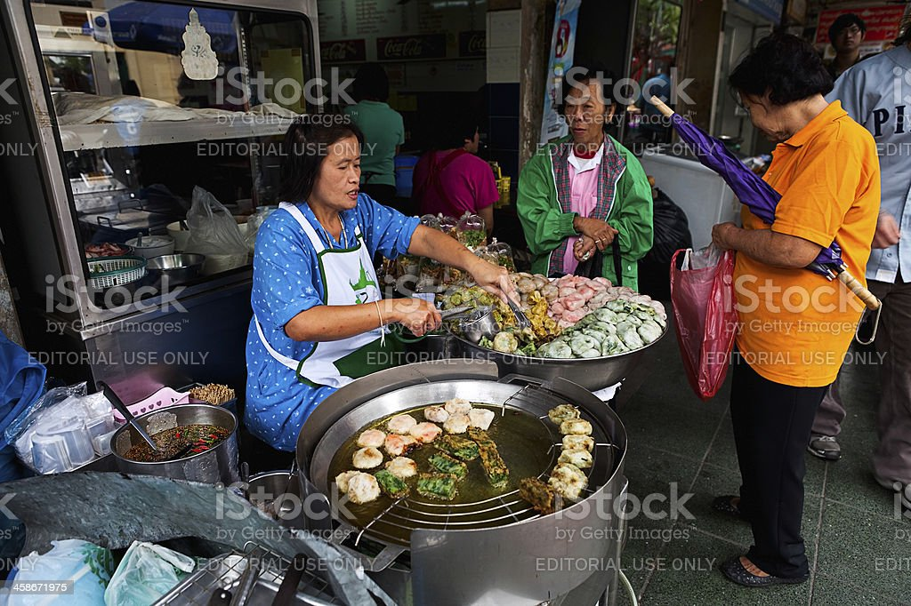 Street food vendor in Bangkok royalty-free stock photo