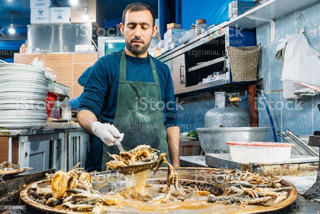 Street food vendor in Istanbul fish market stock photo