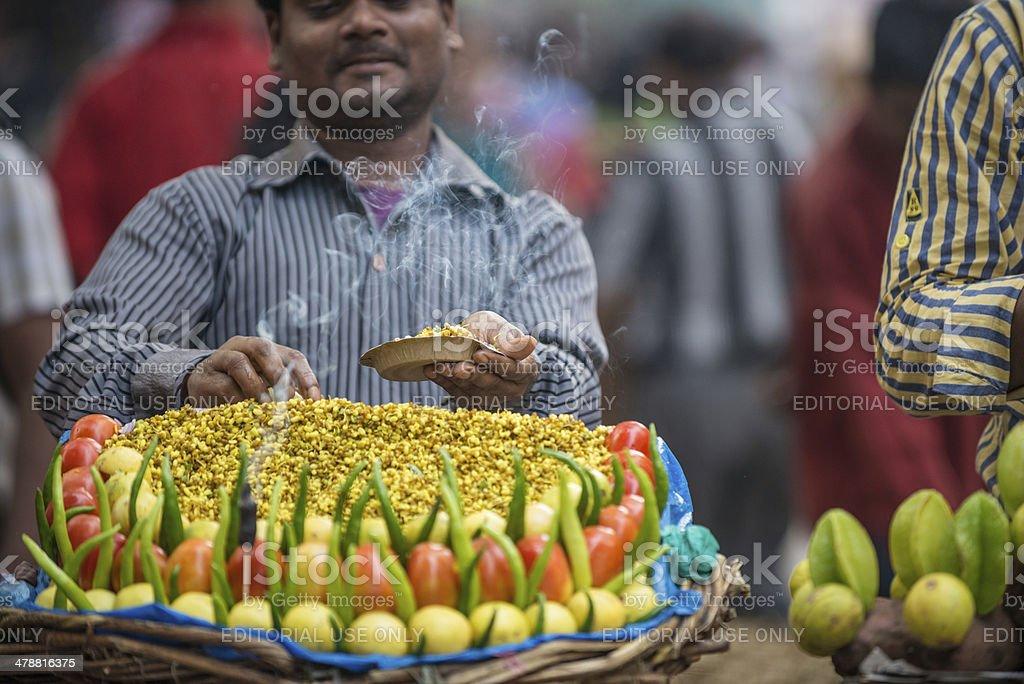 Street Food Vendors Making Chaat royalty-free stock photo