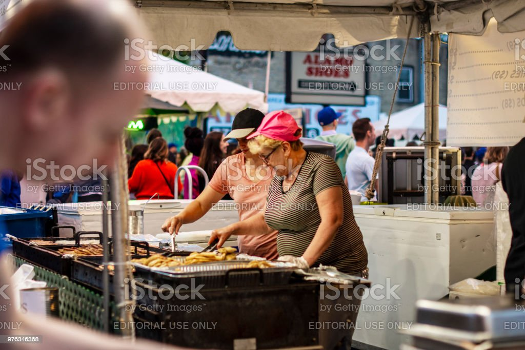 Street food vendors stock photo