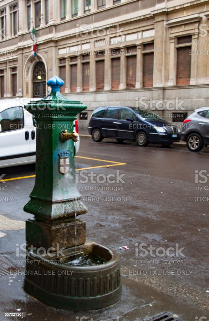 Street fountain with drinking water stock photo