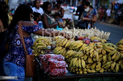 salvador, bahia, brazil december 2, 2020: banana fruit for sale at a street fruit market in the city of Salvador.