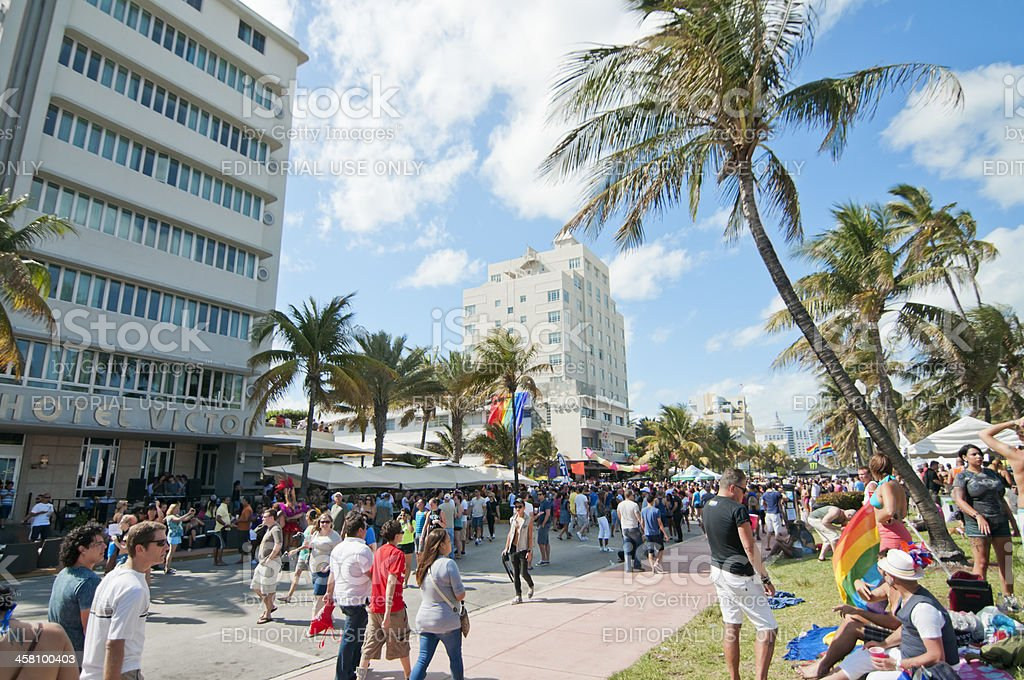 Street full of people watching the Miami Gay Pride stock photo