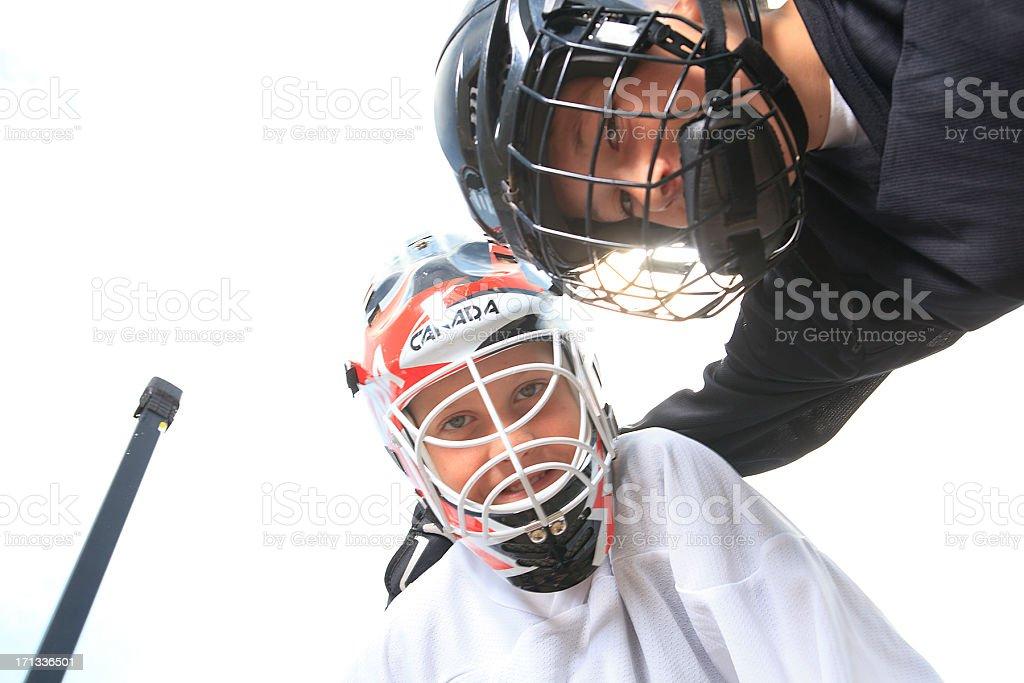 Street Hockey - Back Lit stock photo