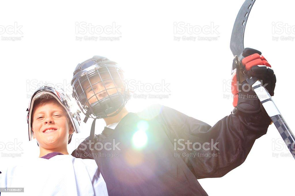 Street Hockey - Back Lit Players stock photo