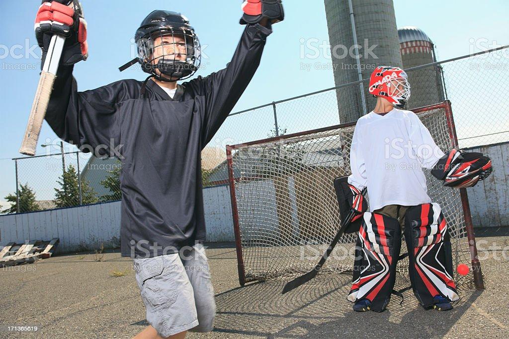 Street Hockey - Celebration stock photo