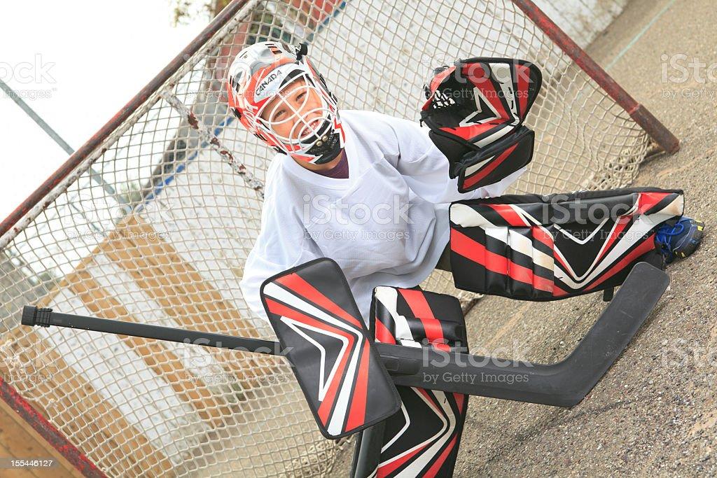 Street Hockey - Goaltender stock photo