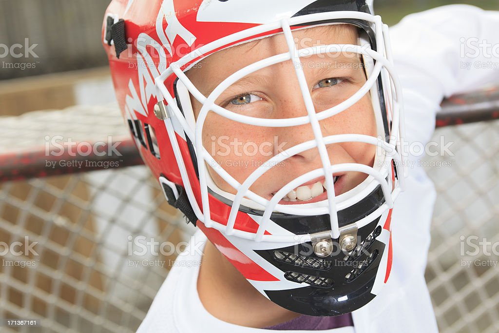 Street Hockey - Goaltender Zoom stock photo