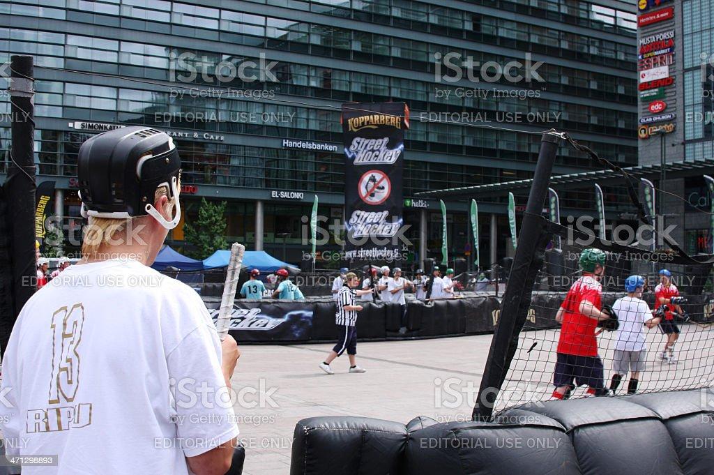 Street hockey player stock photo