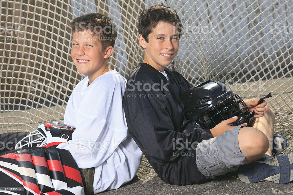 Street Hockey - Sit on Goal stock photo
