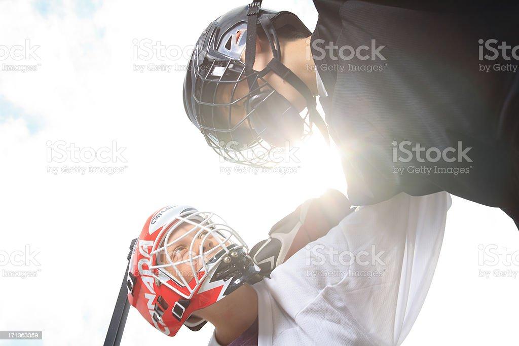 Street Hockey - Sun Behind stock photo