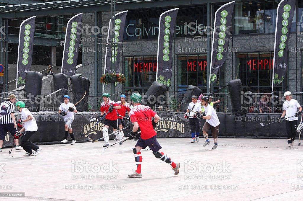 Street hockey teams,Helsinki stock photo