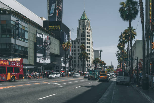 Street Hollywood Boulevard - Hollywood in Los Angeles stock photo
