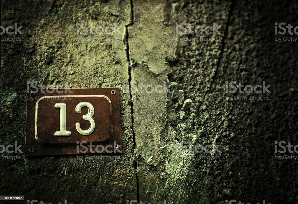 street house no. 13 stock photo