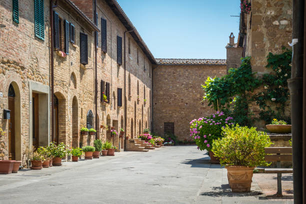 Street in a perfect Italian city  Pienza. Tuscany Street in a perfect Italian city  Pienza. Tuscany pienza stock pictures, royalty-free photos & images