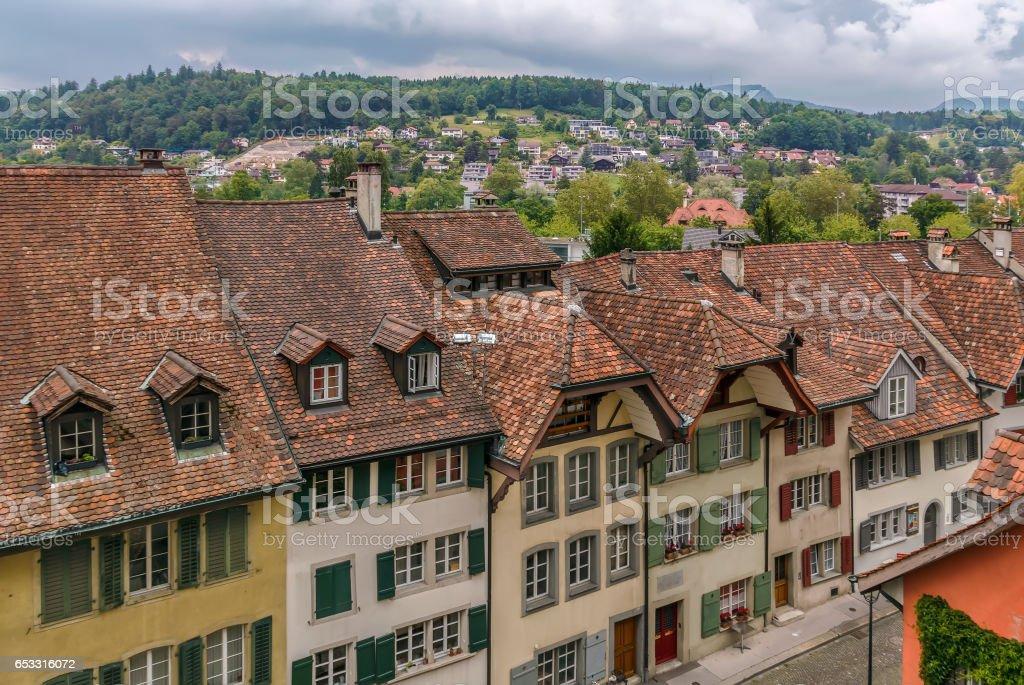street in Aarau old town, Switzerland stock photo