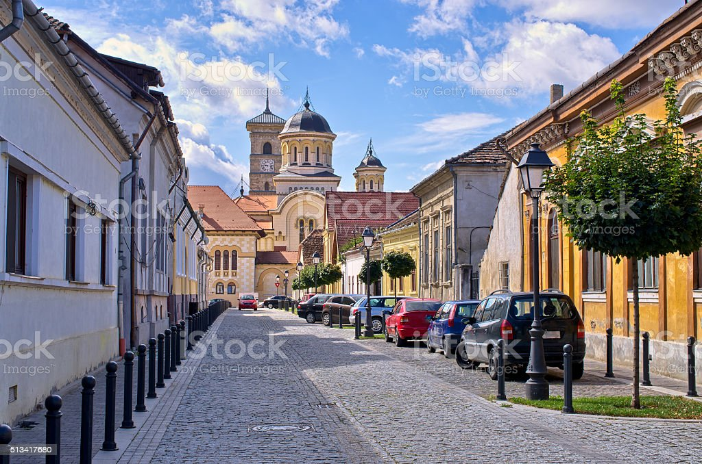Street in Alba Iulia, Romania stock photo