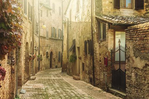 Street in an old italian town in Tuscany