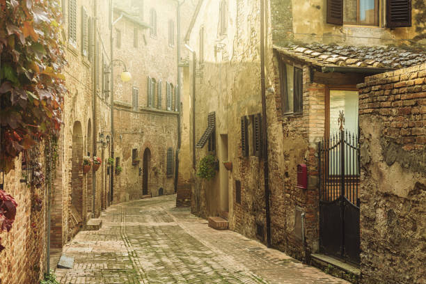 Street in an old italian town in Tuscany stock photo