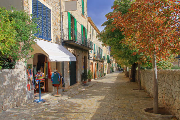 Street in an old village in the mountains of the island of Palma de Mallorca.