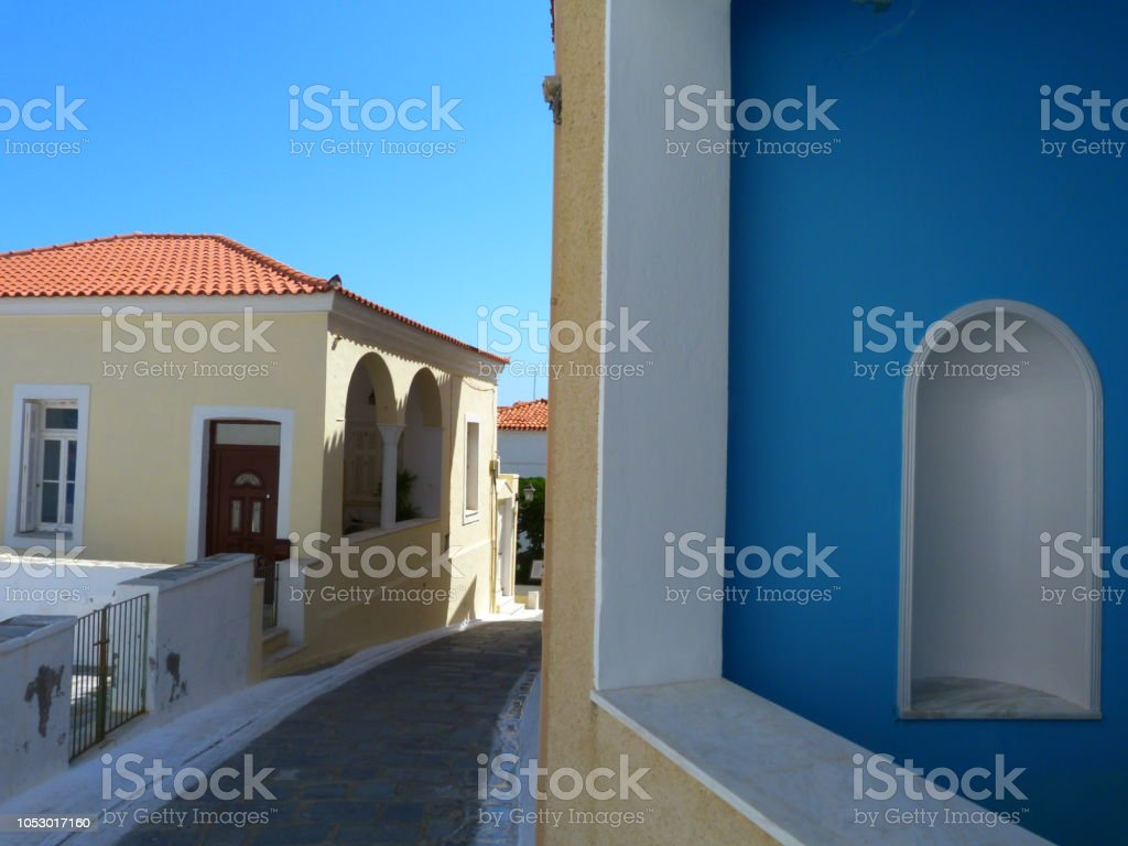 Street in Andros island, Cyclades, Grece stock photo