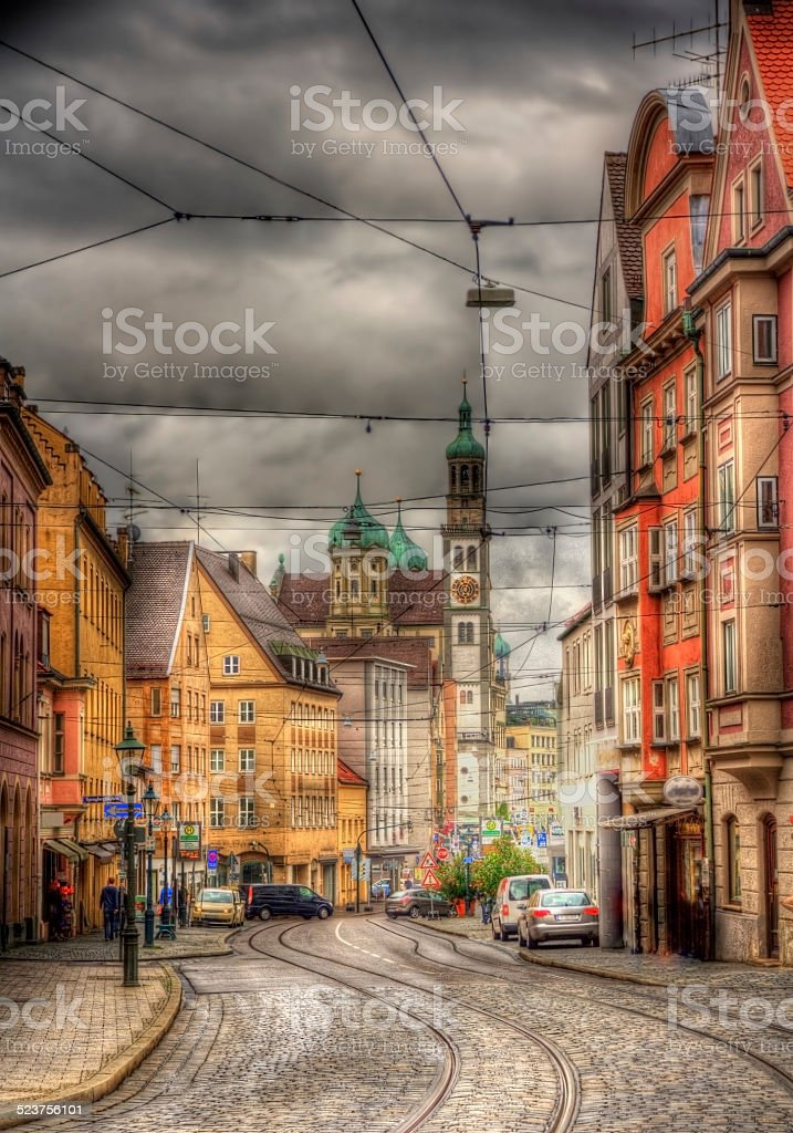 Street in Augsburg city center, Germany stock photo