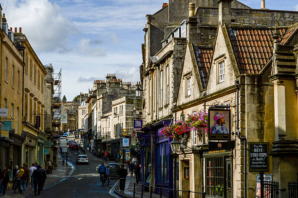 Street in Bath Image in a workday of a street in Bath bath england stock pictures, royalty-free photos & images