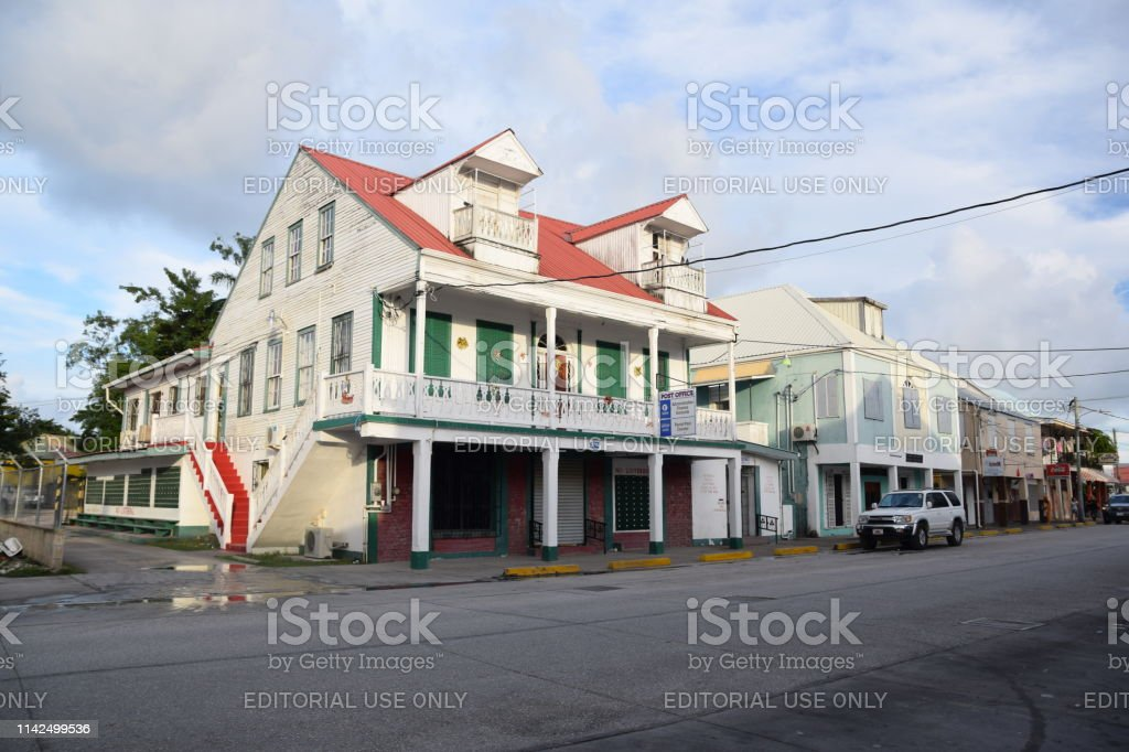 Street in Belize City stock photo