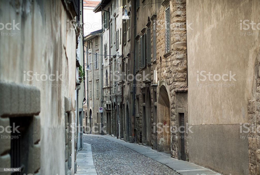 Street in Bergamo stock photo