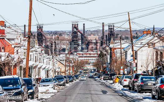 Street in Bethlehem residential district, Pennsylvania, USA
