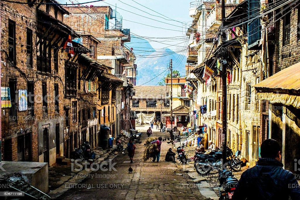 Street in Bhaktapur stock photo