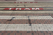 istock street in Blankenberge, Belgium, with pedestrian crossing and tram rail 1031886088