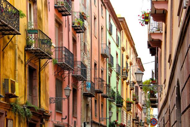street in bosa, sardinia, italy - sardegna foto e immagini stock
