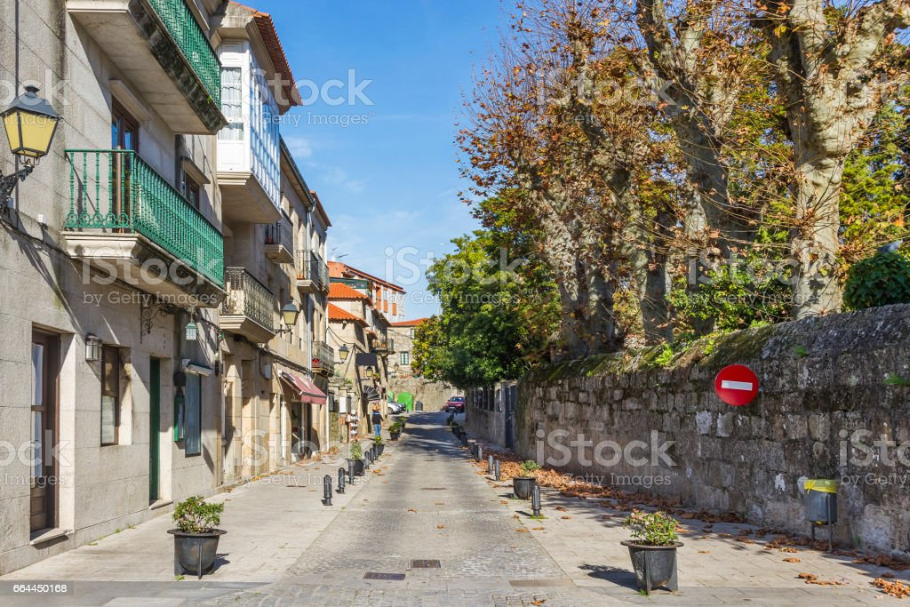 Street in Cambados city stock photo