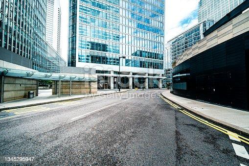 istock Street in canary wharf 1345295947