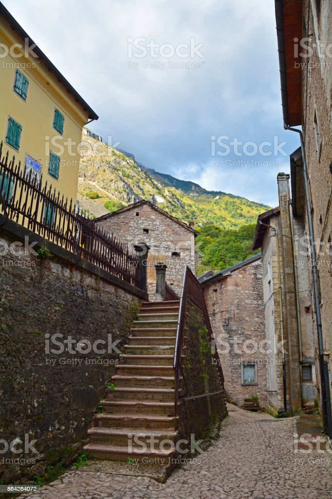 Street in Casso royalty-free stock photo