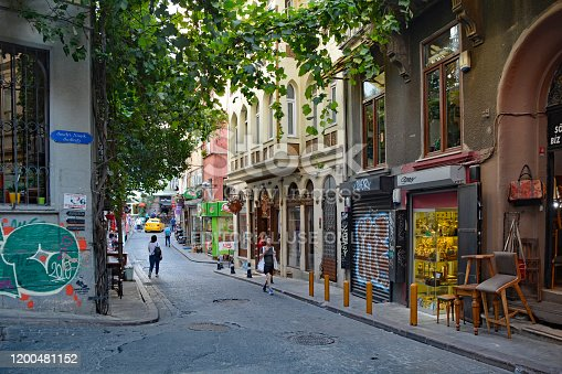 Istanbul, Turkey - September 10th 2019. A street in the Cihangir district of Beyoglu, Istanbul