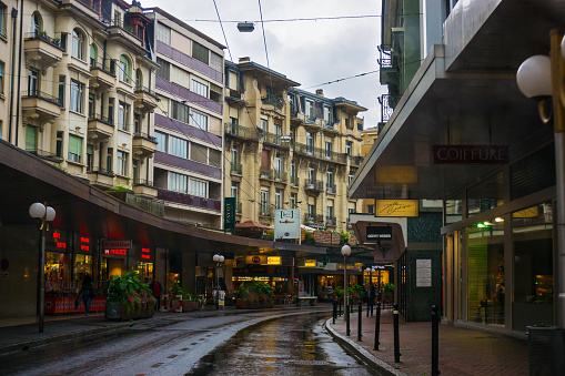 Street in city center in Montreux of Vaud in Switzerland