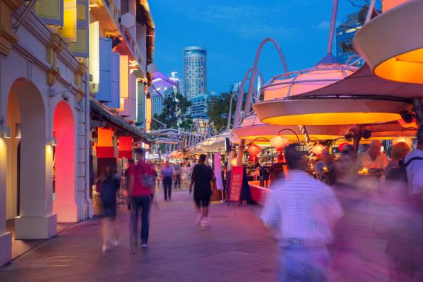Street in Clarke Quay, Singapore stock photo