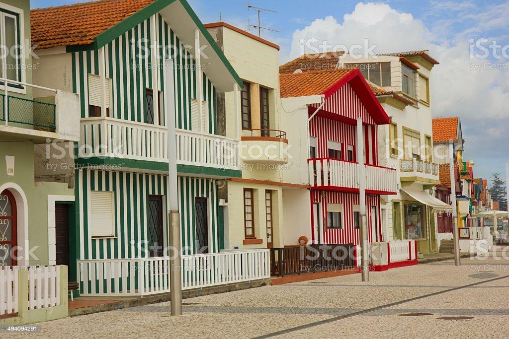 street in Costa Nova, Aveiro, Portugal royalty-free stock photo