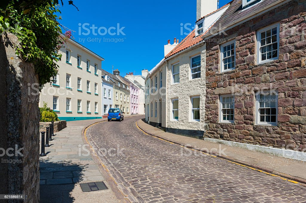 Street in Downtown St Anne Alderney stock photo