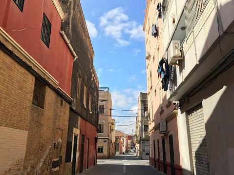 Street in El Cabanyal district, Valencia, Spain